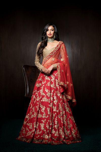 Bridal Lehengas - Crimson Red Lehenga | WedMeGood | Crimson Red Lehenga with…