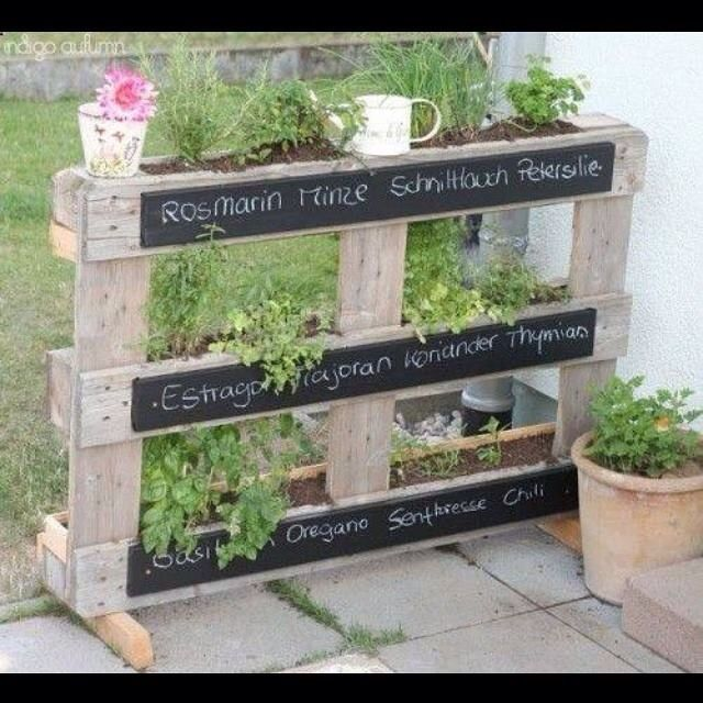 Herb planter made from pallets and a little chalkboard paint.