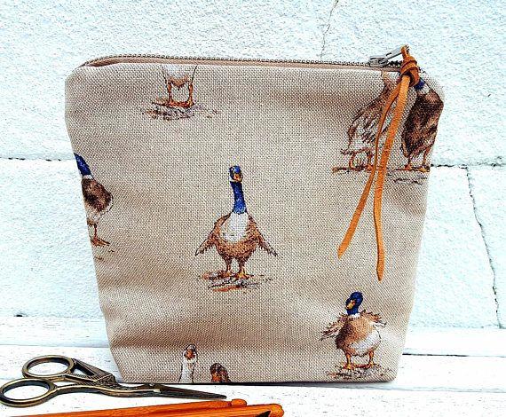 MALLARD DUCK CASE Linen Cotton Knitting Crochet Needle Hook