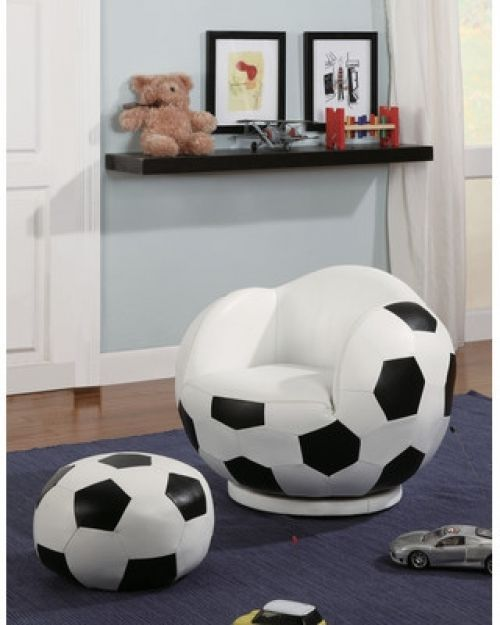 Soccer Ball Chair And Ottoman Kid's Bedroom Furniture Foam Soft Poof Seat #WildonHome