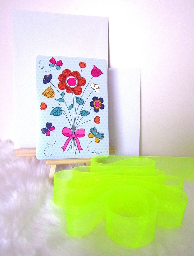 Pop Flower Card & Envelope, Gift Wrapping Paper & Fluoro Organza Ribbon Set