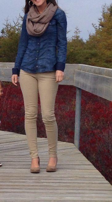 Jean Shirt with Khaki skinnys