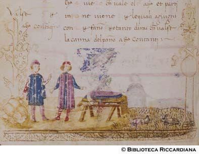 Ricc. 2669, FILIPPO CALANDRI, Trattato di aritmetica Sec. XV, fine; Firenze; bottega di Boccardino il vecchio.  Baratto di panno a lana, c. 72v