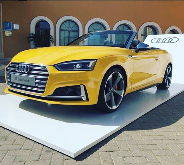 Bring on the sun -- #Audi #newS5 Cabriolet in Vegas yellow ---- oooo #audidriven - what else photo @audiukpress ---- #S5Cabriolet #AudiS5 #newA5 #S5 #quattro #4rings #audilove #yellow #vegasyellow #drivenbyvorsprung #audination #audigramm #audigram #audilove #cadiz #audis #saudi #s5cabrio #yellowaudi