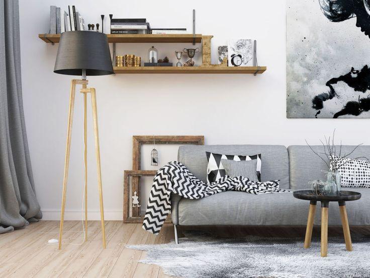Lampy drewniane w salonie w stylu skandynawskim zobacz na myhome.pl