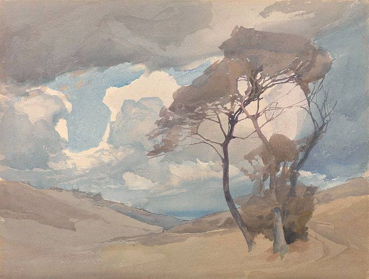 Archibald Knox (1864 — 1933, Scotland) The Trees. watercolour.