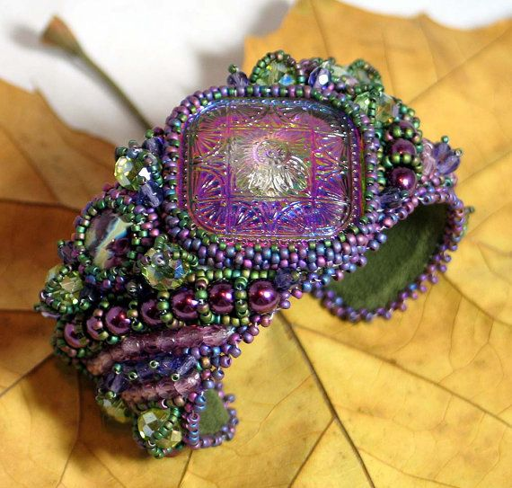 Hannah Rosner - Bead Embroidered Cuff Bracelet - Purple Arabesque. $280.00, via Etsy.