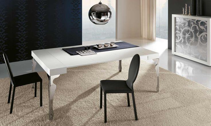 Tavolo moderno Luxury Luxury è un tavolo moderno allungabile con piano e allunghe interne in legno. La particolarità di questo tavolo è rappresentata dalle gambe, eleganti e sagomate, realizzate in acciaio cromato. E' disponibile in diverse misure e molteplici finiture. Finiture di serie: laccato bianco opaco, noce canaletto e rovere tinto bianco o wengè; Finiture a richiesta: rovere tinto naturale, miele, noce, tabacco, cenere, grigio, ciliegio.
