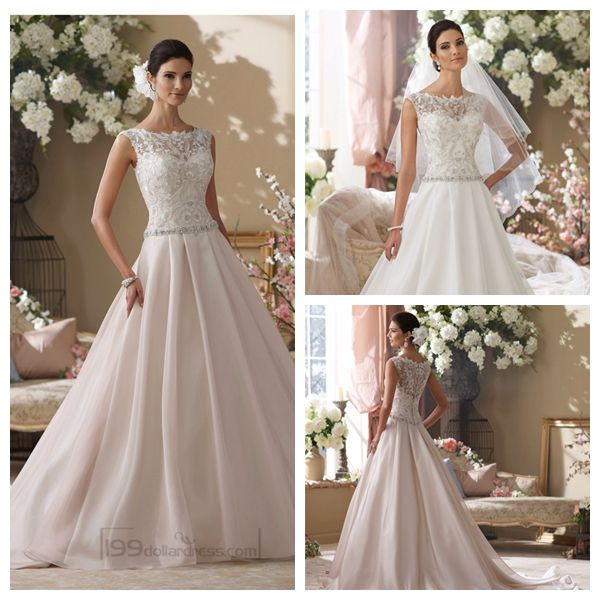 Illusion and Scalloped Lace Bateau Neckline A-line Wedding Dresses