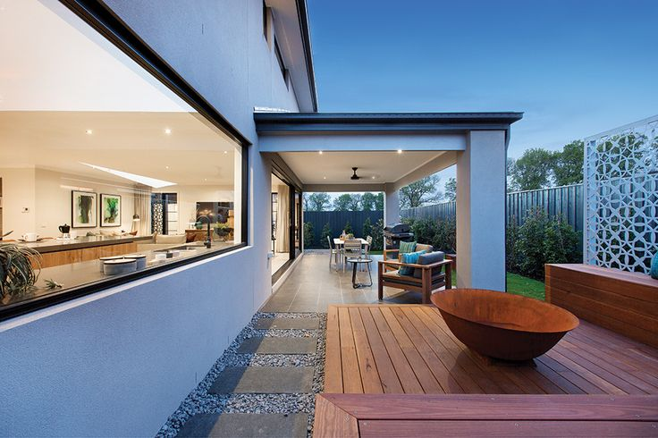 Outdoor entertaining in the Hoffman with a grand alfresco. This home is styled in our Amsterdam World of Style.