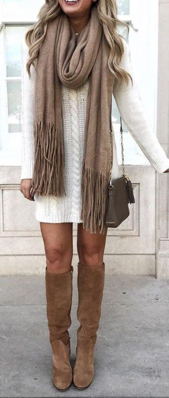 cute outfit ideas for teen girls winter for school - simple Cream Sweater Dress Camel Suede Boots Scarf - www.poshiroo.com