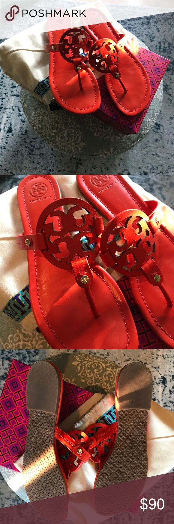 NEW worn once Tory Burch Miller sandals in poppy NEW worn once Tory Burch Miller sandals in poppy red orange / Size 8 / Comes with box and dust bag Tory Burch Shoes Sandals