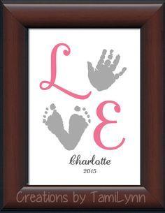 Baby Girl LOVE Footprint & Handprint - Personalized Baby/Child's Room, Girl's room, newborn decor