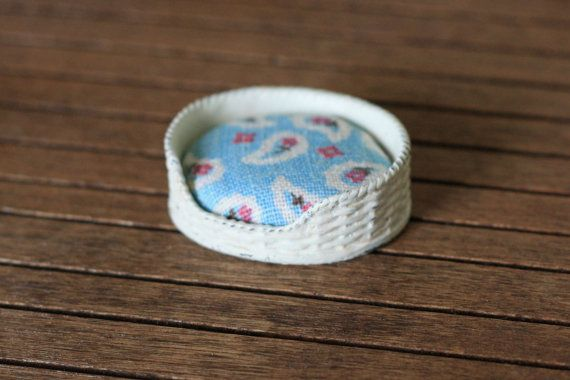 Shabby Chic Country Dollhouse Miniature Blue Dog Pet Bed