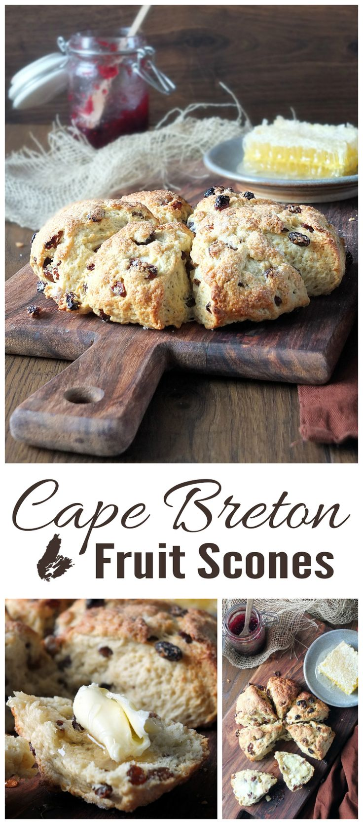 A traditional 'down east' Cape Breton fruit scone recipe. Delicious served warm with butter and honey or jam.