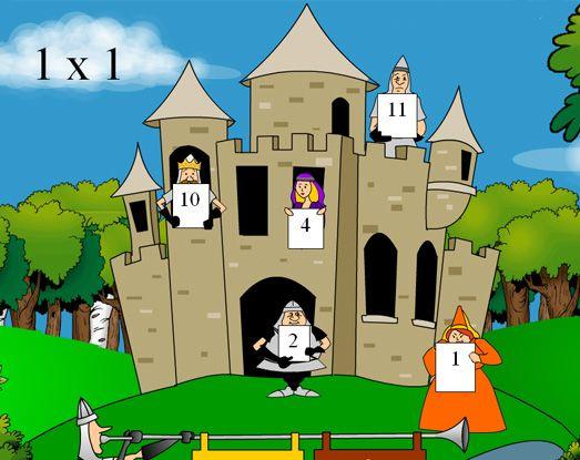 tafels oefenen - geen tijdslimiet, mannetjes verplaatsen zich wel in het kasteel naarmate je hoger in niveau gaat.