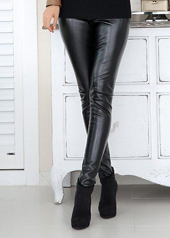 Sexy Elastic Waist Black Flocking PU Leather Leggings For Women Leggings | RoseGal.com