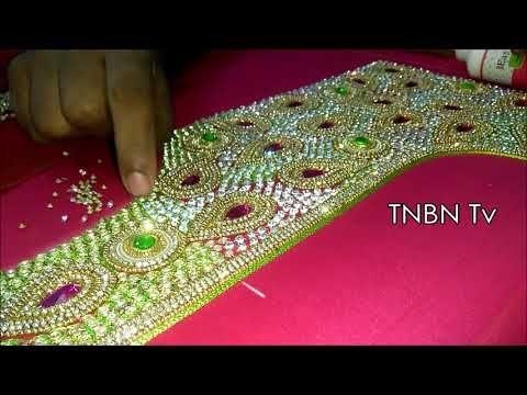 9cf097054 Making Of Bride Blouse with Full Stones , Kundans and Jardosi - Maggam work  blouse making - YouTube