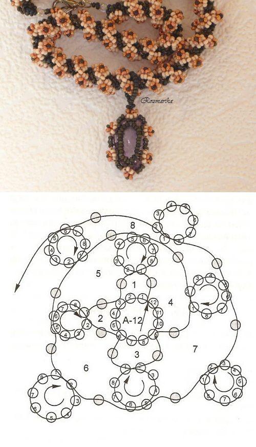 Best Seed Bead Jewelry 2017 – collar tubular con su esquema