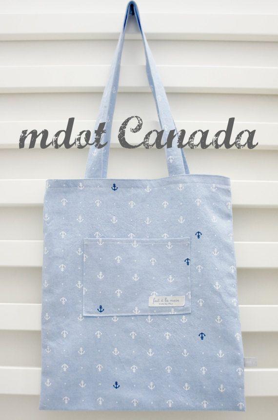 tote bag library bag lesson bag shoulder bag anchor by mdotcanada
