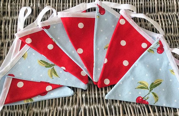 Red white and blue bunting with polka dots and cherries  3.8