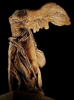 Formal beauty. Fabric swirling in the wind, her majestic gesture of victory and wings spread wide open mark the explicit beauty of this Hellenistic masterpiece. Victory of Samothrace has always been a huge hit!  https://www.facebook.com/HotelContinentParis?fref=nf