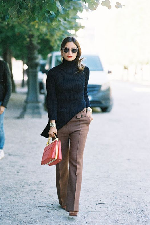 work chic outfit with brown trousers and black turtleneck