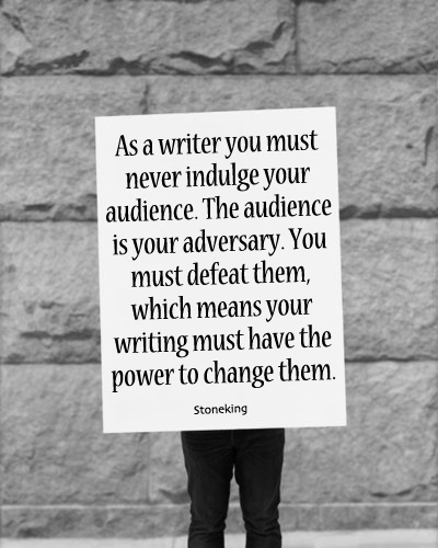Never indulge your audience...unless of course you want to pander towards a quick movie script then by all means pander.