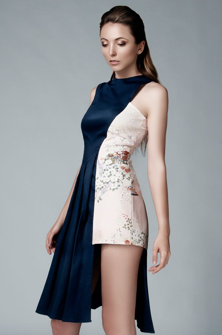 AUTHENTIC SILKS FROM JAPAN IN LEMICHÉ F/W 2016 COLLECTION - ASYMMETRIC PLEATED DRESS