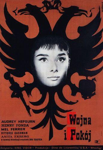 Vintage Polish movie poster 1961 by Wiktor Gorka : Wojna i pokoj (War and Peace, US / Italy, 1956)