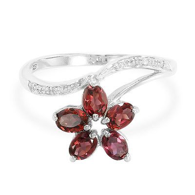 Rhodolite & Diamond 925 Sterling Silver Ring - Size 6.5 - 7