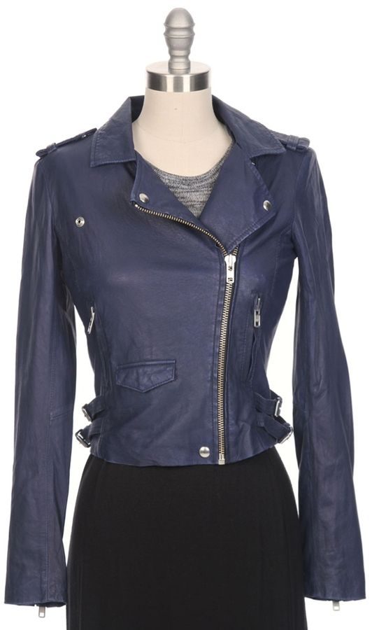 Navy Leather Jacket by IRO. Buy for $1,254 from Ron Herman