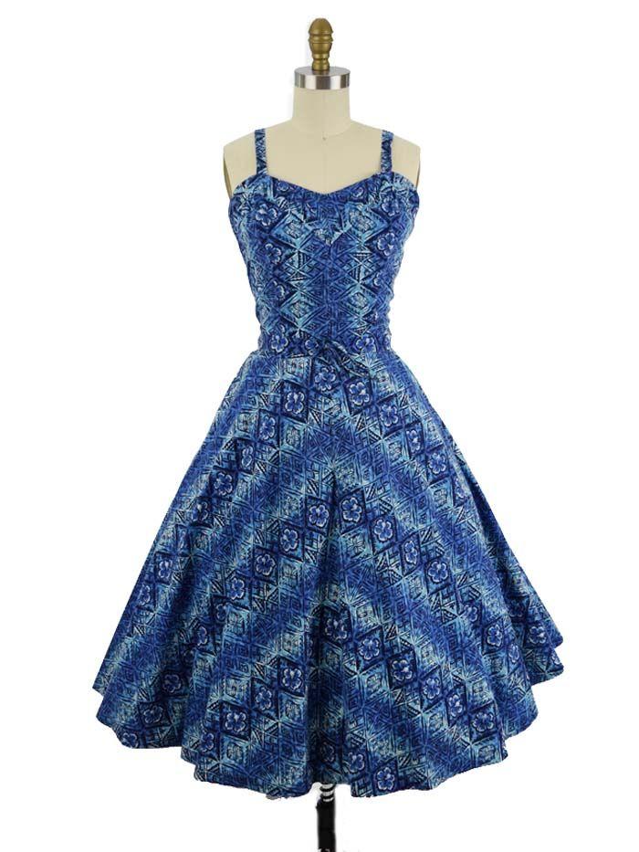 909bd6f7fd 50s Blue Hawaiian Floral Tapa Print Swing Dress-M