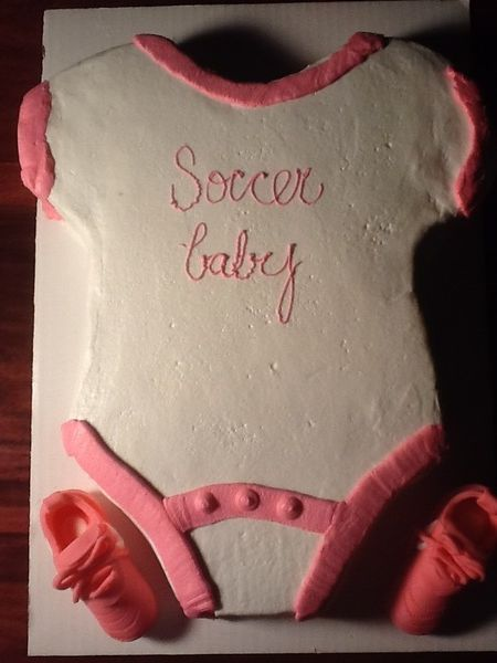 Soccer onsie with soccer cleats baby shower girl