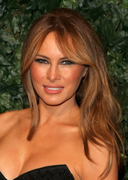Melania Trump Lookbook: Melania Trump wearing Layered Cut (3 of 8). Melania Trump glowed as her long layered cut highlighted her face at QVC's Red Carpet Style Party.