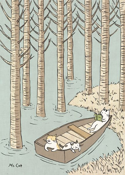 炎夏午後 愛曬太陽的貓咪 也有想找涼快的時候 划著小舟 來到林間深處的湖泊 湛藍湖水透徹見底 卻見不到一條魚 也好 這樣才可以專心的 發呆 睡覺 讀一本書 蟲不鳴鳥不叫 天地安靜地像一首詩 美好...
