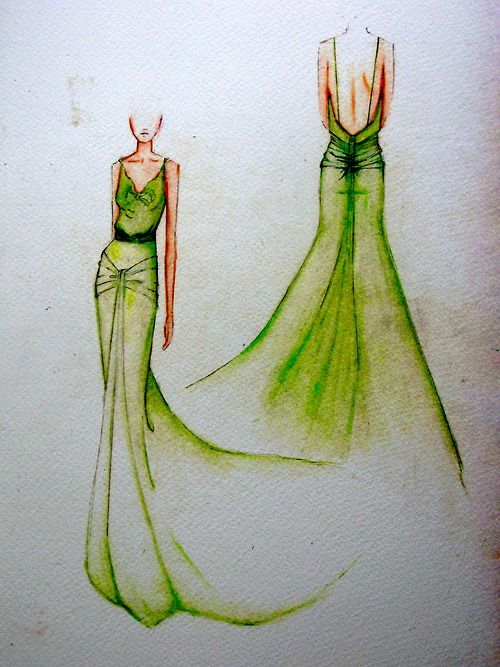 Original sketch of the iconic 1930's silk dress worn in the film Atonement by Keira Knightley, designed by Academy Award nominated costume designer Jacqueline Durran. The striking emerald green color was specifically requested by the film's director Joe Wright.