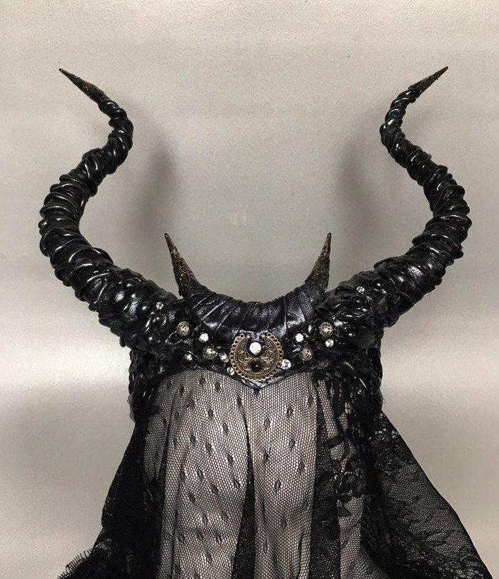 Black horns  horns with moon  Maleficent horns  headdress