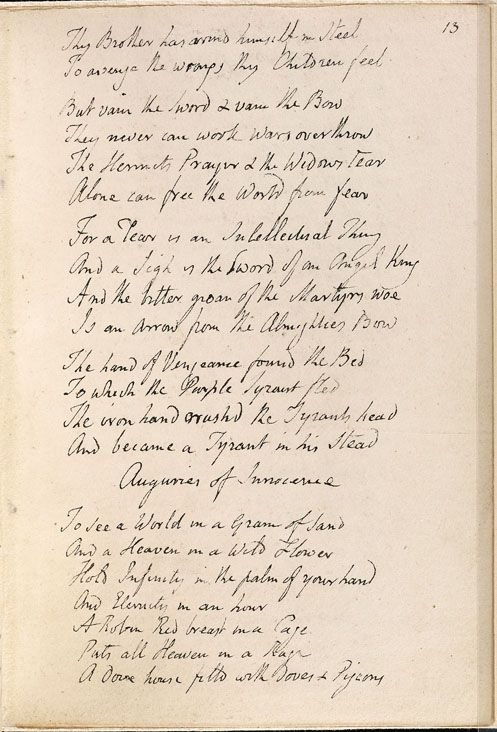 a summary of auguries of innocence a poem by william blake Auguries of innocence william blake was born in london on november 28, 1757, to james, a hosier he declared in one poem.