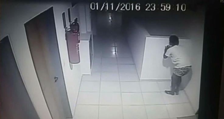 Vídeo flagra assaltante invadindo prédio em João Pessoa