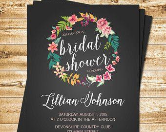 Chalkboard Tropical Bridal Shower by WillowLaneStationery on Etsy