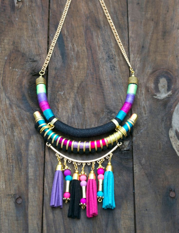 Tassel necklace tribal necklace neon jewelry  pom poms tassels colorful by tashtashop on Etsy https://www.etsy.com/listing/170768489/tassel-necklace-tribal-necklace-neon
