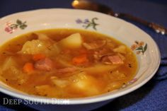 Ham and Cabbage Soup - A simple soup made from a chicken broth base, with leftover baked ham, bacon, a ham hock and cabbage.