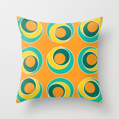 Bright Pillows, Pool Pillow, Patio Pillow for Outdoor Cushions, Throw Pillow, Turquoise, Orange, Yellow, Colorful Decorative Pillow Cover by DesignbyJuliaBars on Etsy https://www.etsy.com/listing/221861499/bright-pillows-pool-pillow-patio-pillow