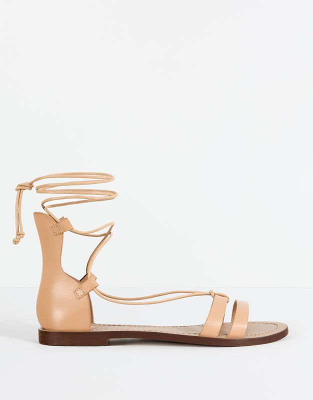 :LEATHER SANDALS WITH LACES