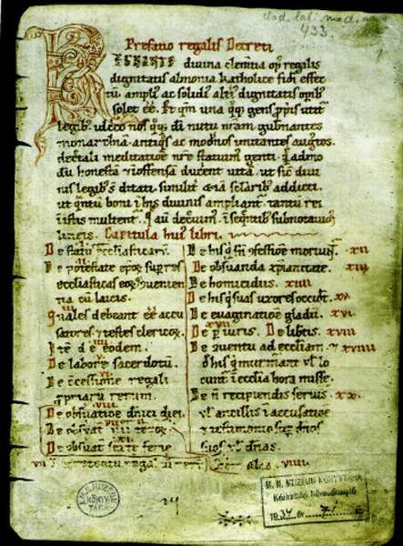 Szent István törvényei az admonti kódex első lapján