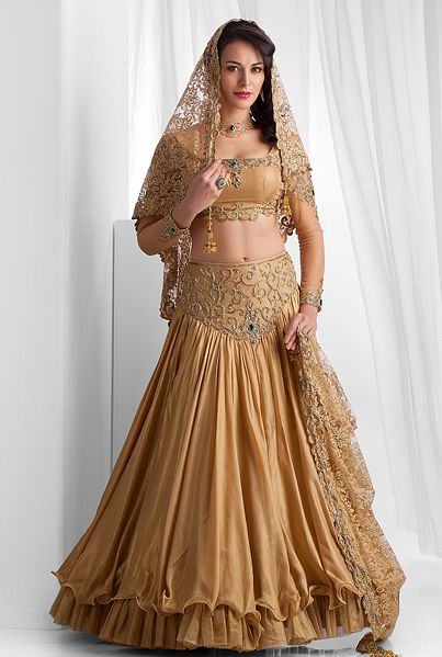 Pure foil georgette ghagra and blouse with chantilly lace dupatta embellished with stones work