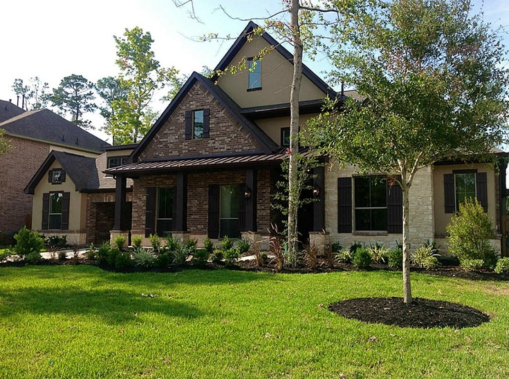 Brick stone and stucco exterior house ideas pinterest for Stone and brick home designs