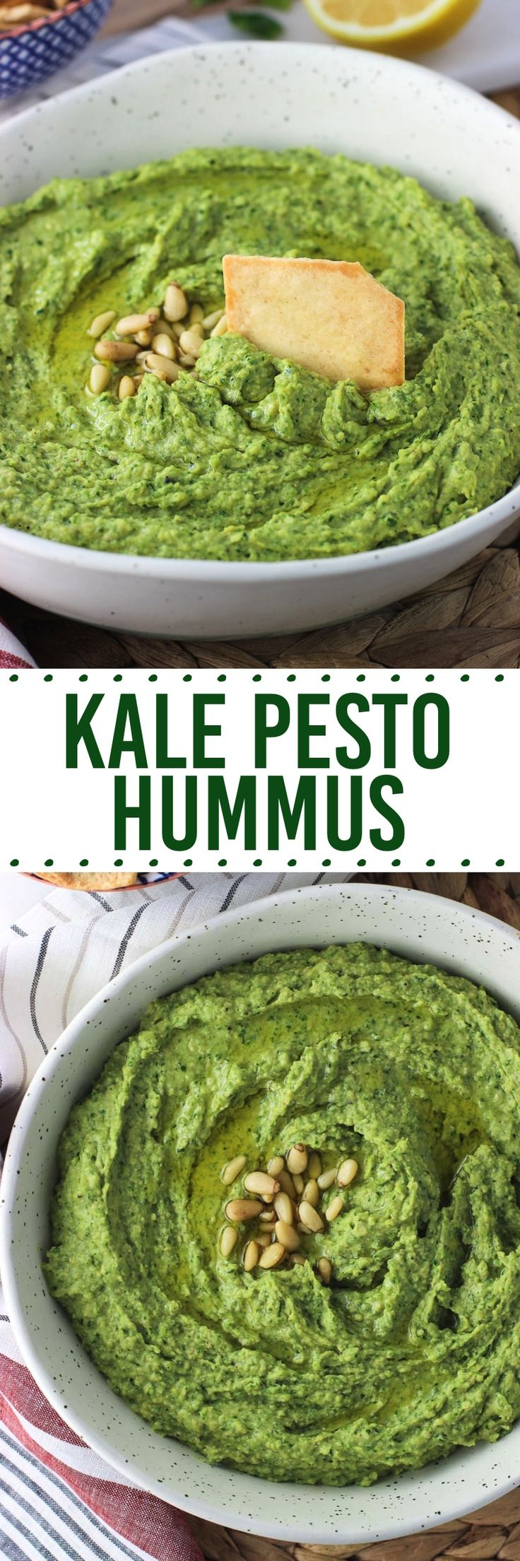 Kale Pesto Hummus is a creamy, healthy snack that's easy to make at home! Kale and basil leaves, along with other traditional pesto ingredients, take hummus to the next level.