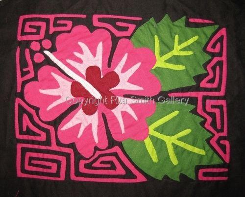Flower Molita Handmade Mola Quilt Fabric Art San Blas Panama#226